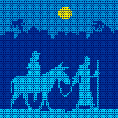 Knitted pattern of Joseph and Mary riding in a donkey. Christmas scene.