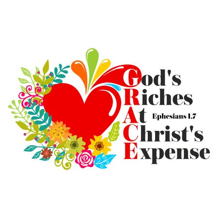성경 글자. 기독교 예술. 은혜 - 그리스도의 경비로 하나님의 풍성함.