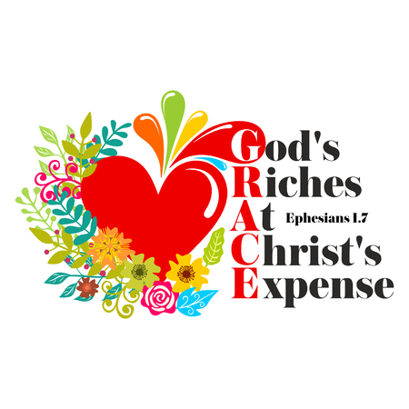 Bible lettering. Christian art. GRACE - Gods Riches At Christs Expense. Illustration