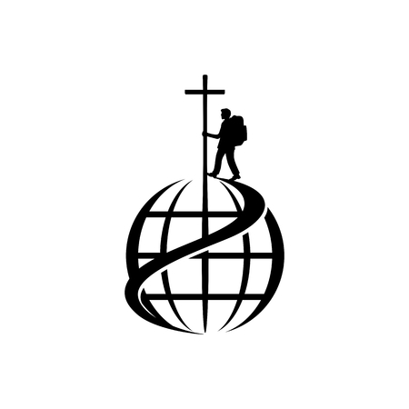 Christian illustration. The missionary of Jesus Christ is walking the world