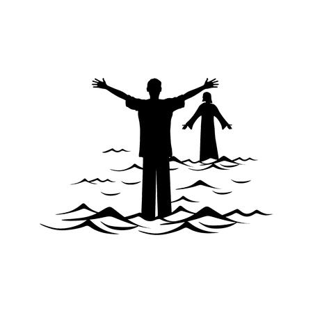 Christian illustration. A man walks the water