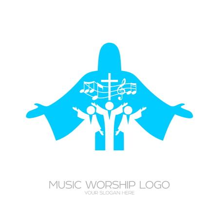 Muziek Christelijke symbolen. Muzikale aanbidding in Christus Jezus
