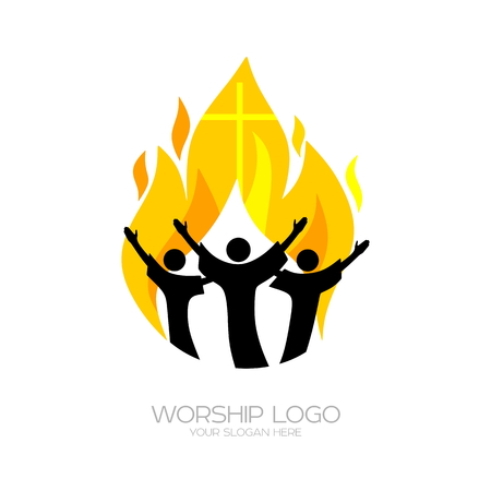 Music Christian symbols. Believers worship Jesus Christ, sing with the fire of the Holy Spirit