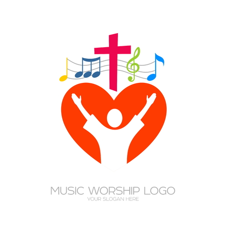 Music Christian symbols. The believer worships Jesus Christ, sings the glory to God