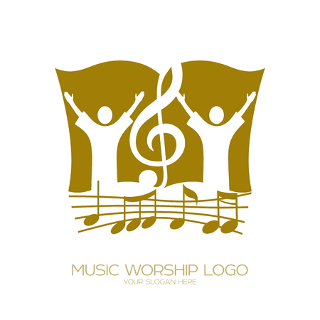 Music Christian symbols. Worshiping God, people and the treble clef on the background of the Bible Vectores