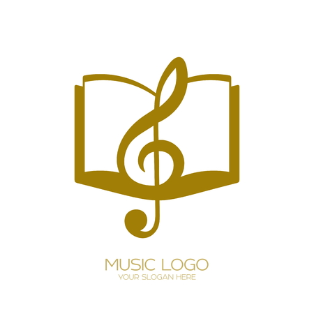 Music Treble clef and book Vectores