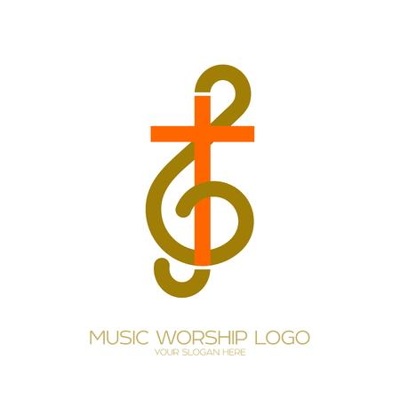 Simboli cristiani di musica. La combinazione della chiave di violino e della croce di Gesù Archivio Fotografico - 94269974