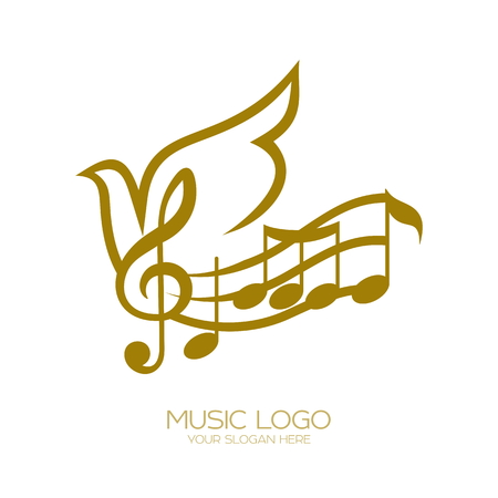 Music Treble clef and flying dove flying