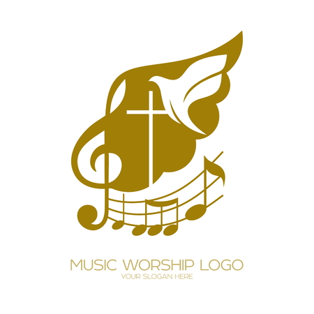 Music Christian symbols. The cross of Jesus, the treble clef and the flying dove flying Vectores