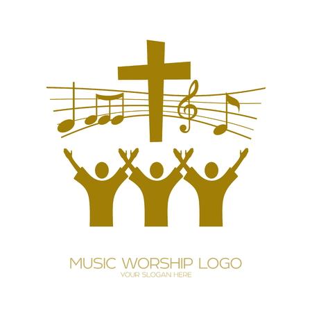 Muziek logo. Christelijke symbolen. Gelovigen in Jezus zingen een lied van verheerlijking voor de Heer Logo