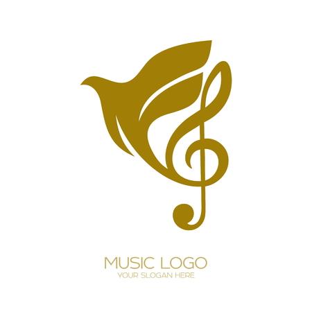 音楽のロゴ。トレブルクレフとフライング鳩
