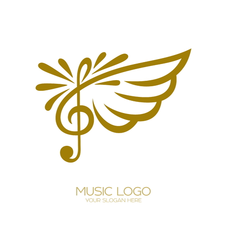 Music logo. Flying treble clef