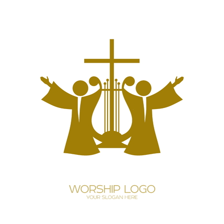 Music logo. Christian symbols. Worshiping God  イラスト・ベクター素材