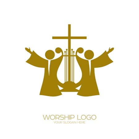 Music logo. Christian symbols. Worshiping God Ilustração