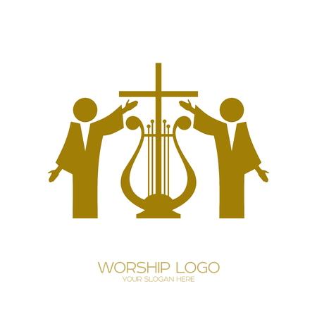 音楽のロゴ。キリスト教のシンボル。神を崇拝する
