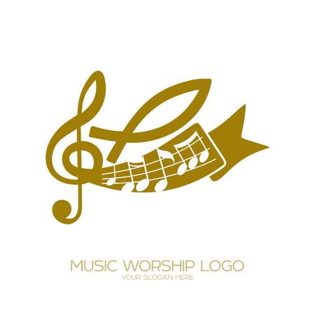 音楽のロゴ。キリスト教のシンボル。ノート、高音のクリーフと魚 - イエスのシンボル