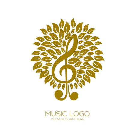 Music logo. Flourishing treble clef Vectores