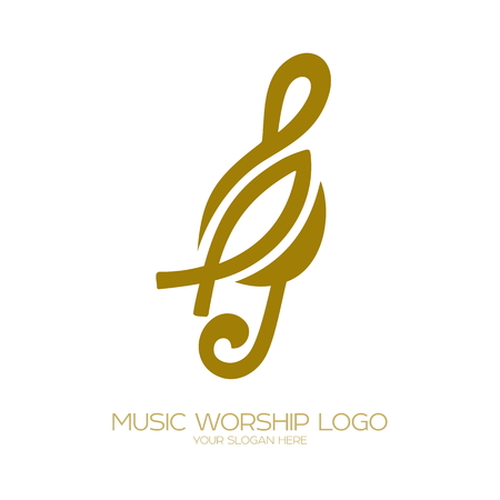 Music logo. Christian symbols. Treble clef and fish