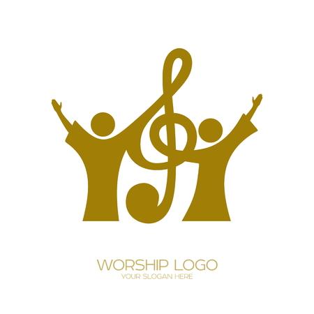 Logotipo da música. Símbolos cristãos. Os crentes em Jesus cantam uma canção de glorificação ao Senhor