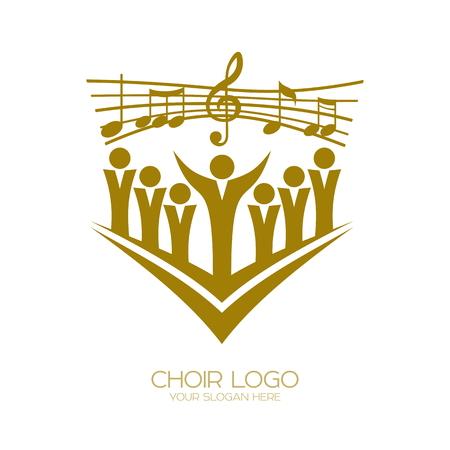 Logotipo de la música. Simbolos cristianos Los creyentes en Jesús cantan una canción de glorificación al Señor