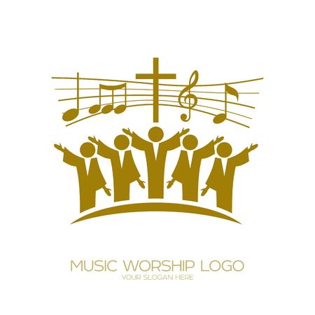 Logotipo de la música. Simbolos cristianos Los creyentes en Jesús cantan una canción de glorificación al Señor Logos