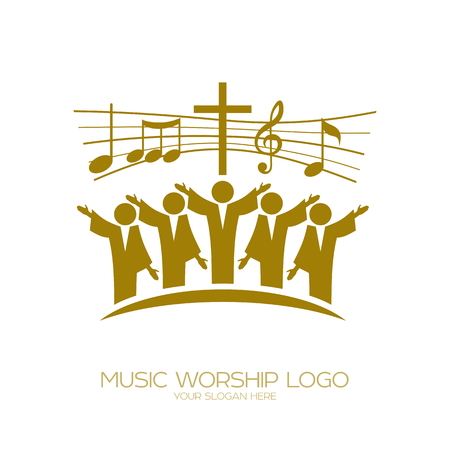 Music logo. Christian symbols. Believers in Jesus sing a song of glorification to the Lord Banco de Imagens - 94351794