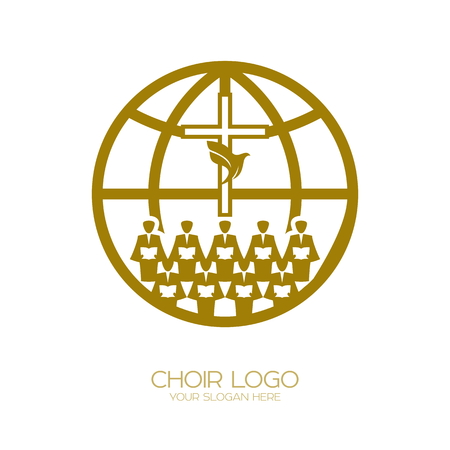 Music logo. Christian symbols. A Chorus Throughout the Earth Praises Jesus Christ Vettoriali