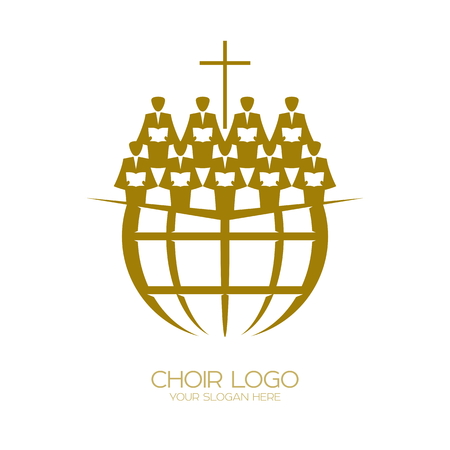Music logo. Christian symbols. A Chorus Throughout the Earth Praises Jesus Christ Vettoriali
