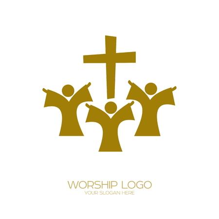 Worship icon. Christian symbols. People worship Jesus Christ Foto de archivo - 94911201