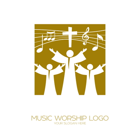 Music worship icon. Christian symbols. Believers in Jesus sing a song of glorification to the Lord