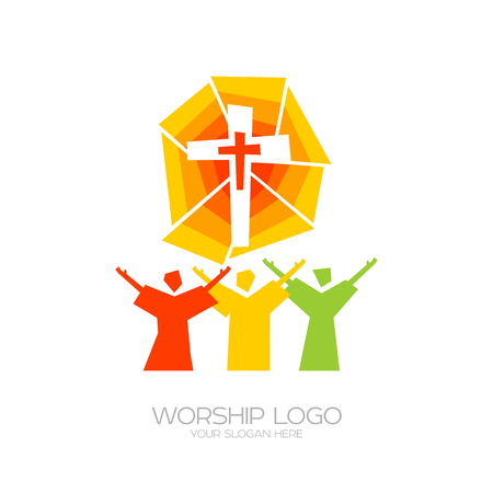 Worship icon. Christian symbols. People worship Jesus Christ