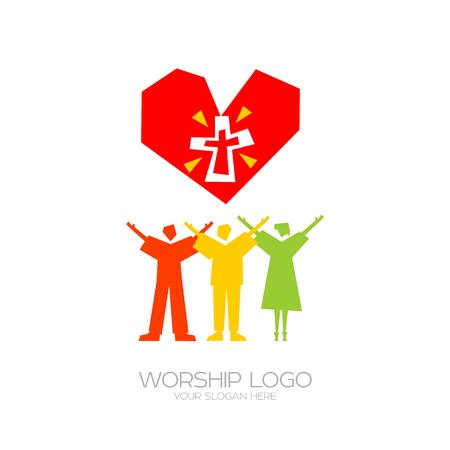 礼拝アイコン。キリスト教のシンボル。人々はイエス・キリストを崇拝する