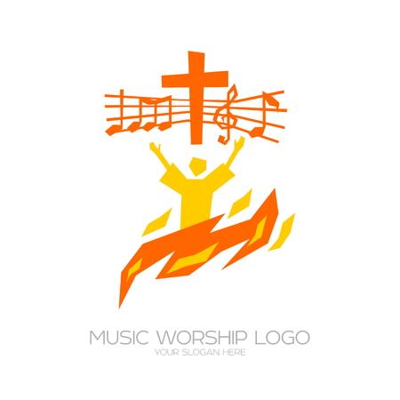 Worship icon.. Christian symbols. The believer worships Jesus Christ, sings the glory to God Illustration