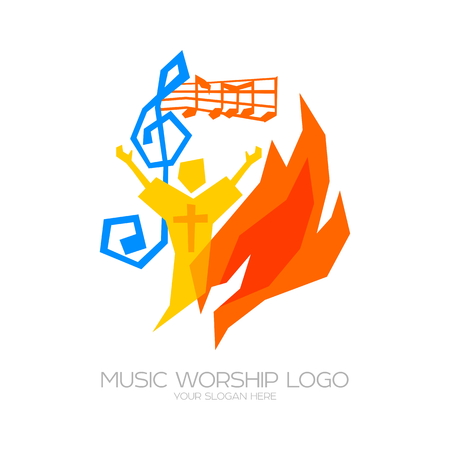 Music Worship icon. Christian symbols. The believer worships Jesus Christ, sings the glory to God Vectores