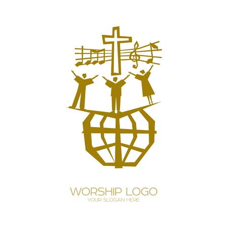 音楽アイコン。キリスト教のシンボル。すべての国と国籍の人々。  イラスト・ベクター素材