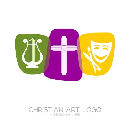 Icoon van het christelijke creatieve team dat theatrale producties, gedichten, musicals uitvoert. Stock Illustratie