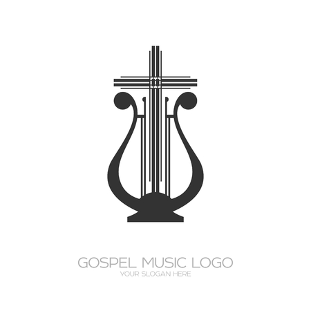 Musical icon. Harp and cross illustration. Vectores