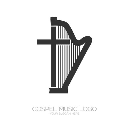 Musical logo. Harp and cross.