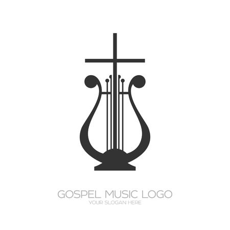 Musical icon. Harp and cross illustration. Stock fotó - 94497609
