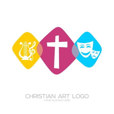 Icoon van christelijke creativiteit. Theater-muzikale uitvoeringen en evangelisatie. Stock Illustratie