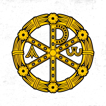 Ancient Christian symbol of Jesus Christ. Alpha and Omega.  イラスト・ベクター素材