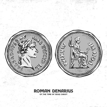 Ancient coin. Roman denarius of the time of Jesus Christ  イラスト・ベクター素材