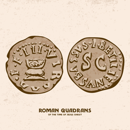 Ancient coin. Roman quadrant of the Times of Jesus Christ 矢量图像