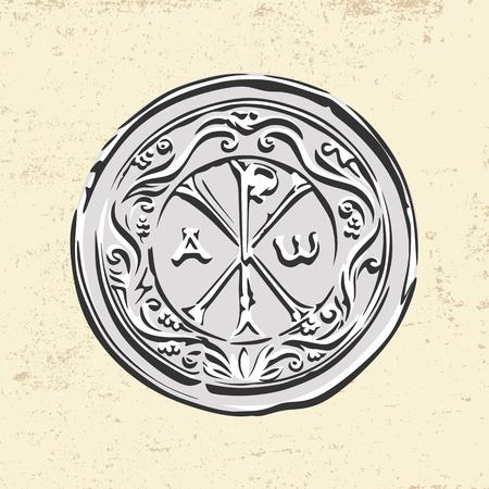 Ancient Christian symbol of Jesus Christ. Alpha and Omega. 일러스트