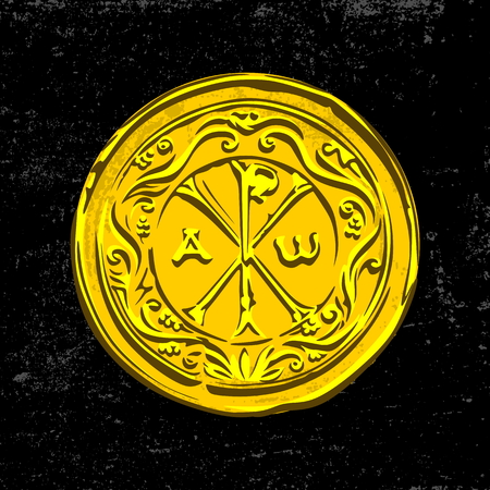 Ancient Christian symbol of Jesus Christ. Alpha and Omega. Ilustrace