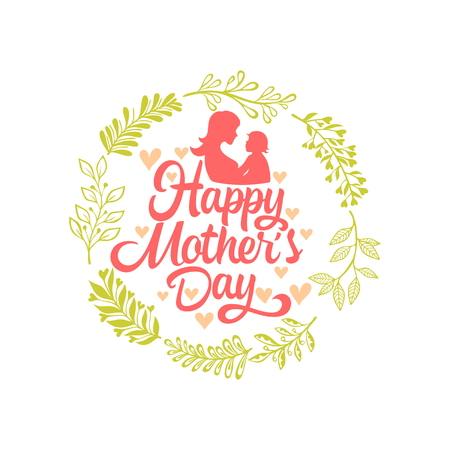 Typography and lettering with design elements and silhouettes for a Happy Mothers day.