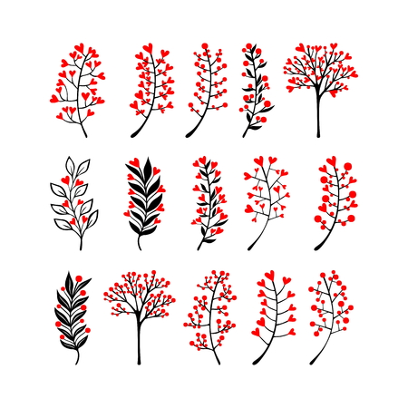 Floral vector elements in doodle style, flowers and leaves. Summer flowers for greeting cards, wedding designs or invitations.