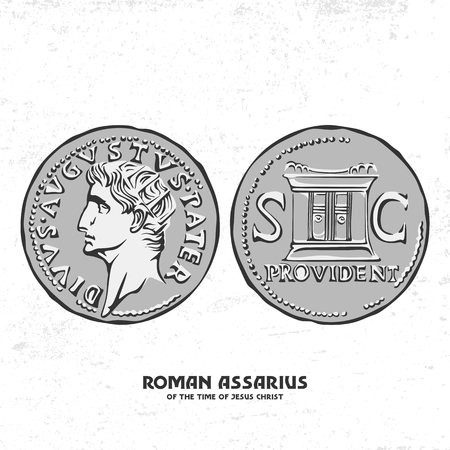 Ancient coin. Roman assarius of the Times of Jesus Christ Ilustrace