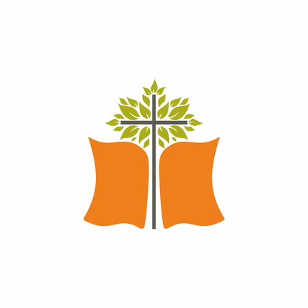 Church logo. The Bible and the Blossoming Cross Illustration