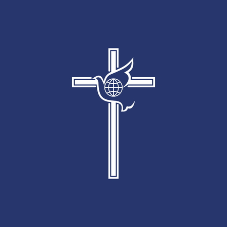 Church logo. The cross and the flying dove - God's spirit